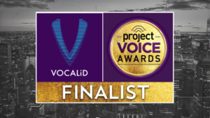 Graphic announcing Vocalid as a Project Voice Awards Finalist