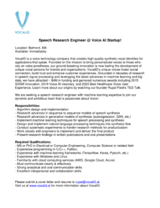 Speech Research Engineer at VocaliD job opportunity listing