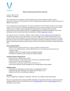 Software Engineering Lead role opportunity listing at VocaliD