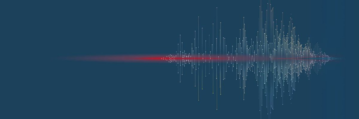 Graphic showing a line of color penetrating a sound wave to demonstrate attacks on voice systems